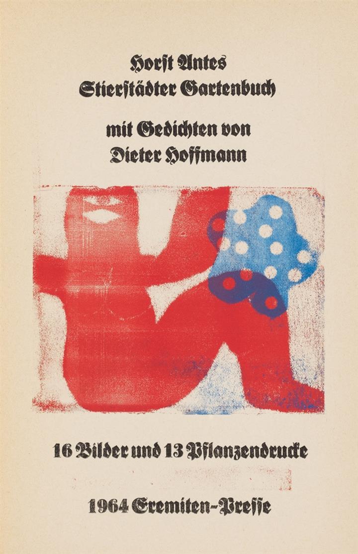 H. Antes/ D. Hoffmann, Stierstädter Gartenbuch.  Stierstadt 1964. - Ex. 59/300. Widmungsex. des Künstlers.