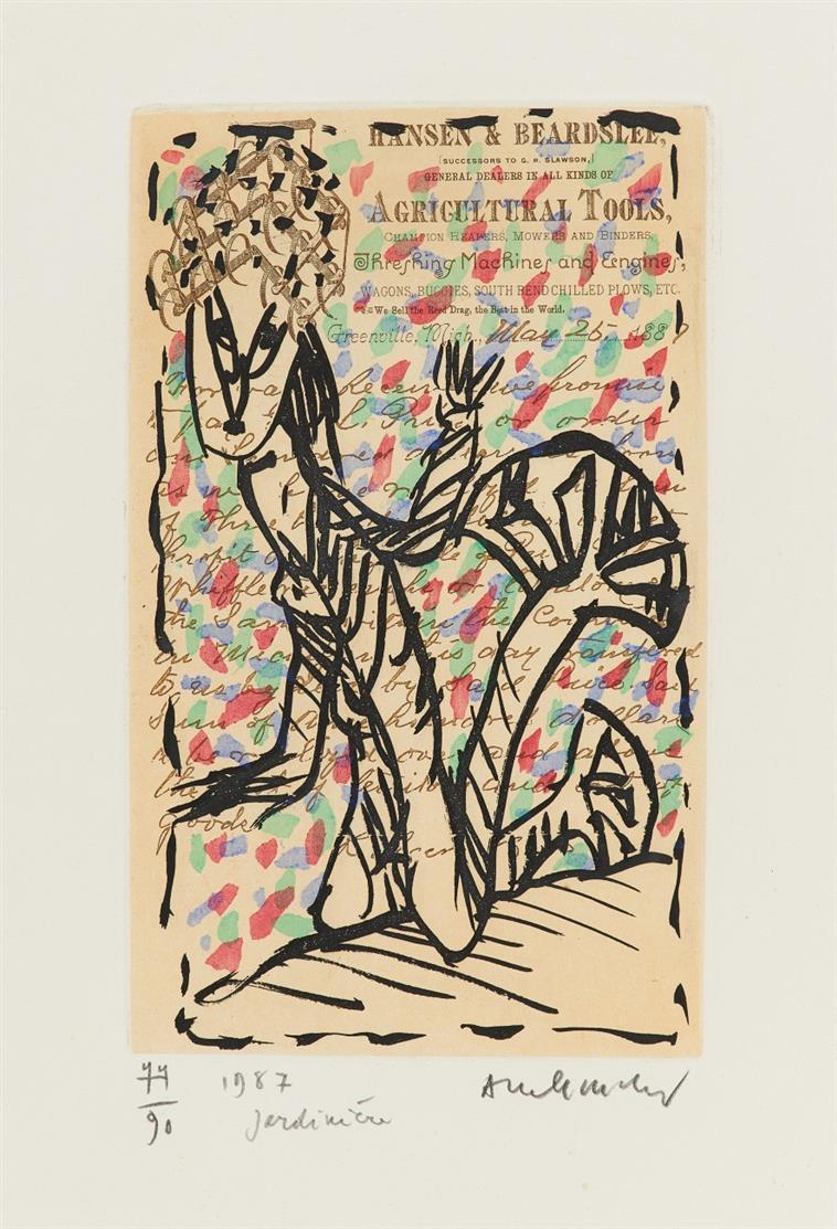 P. Alechinsky. Jardinière. 1987. Farbradierung. Ex. 77/90. Signiert.