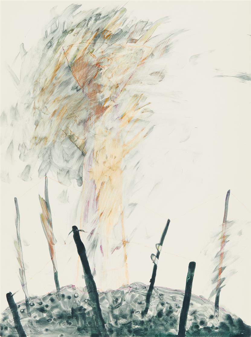 Franz Eggenschwiler. Ohne Titel. Aquarell und Buntstift auf Karton.