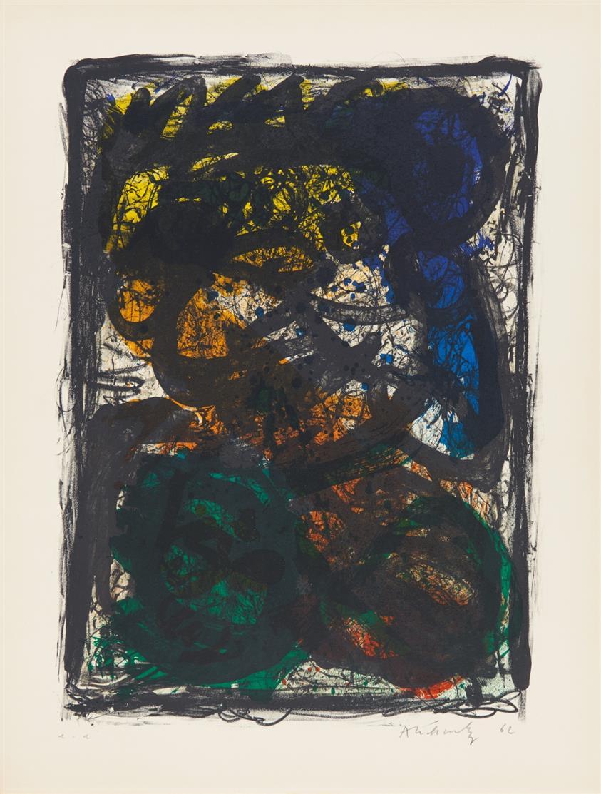 Pierre Alechinsky. Le Pays Noir. 1962. Farblithographie. Ex. e.a. Signiert. Rivière 145.