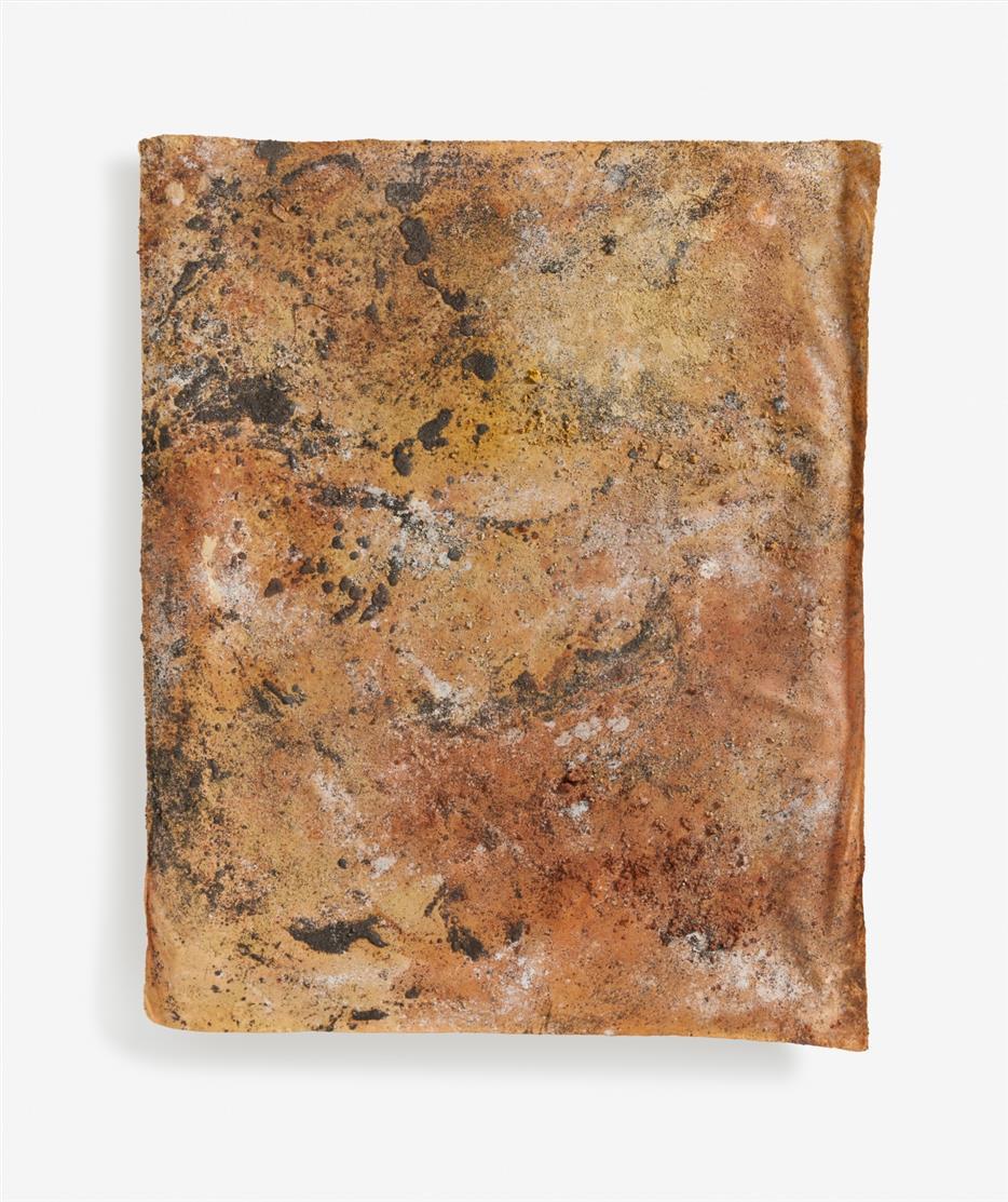 Ulrike Arnold. Flagstaff Arizona. 2000. Sand, Sandstein, Pigmente und Klebstoff auf Leinwand. Signiert.