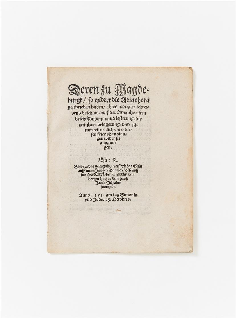 N. v. Amsdorff, Deren zu Magdeburgk so widder die Adiaphora geschrieben haben ... Magdeburg 1551.