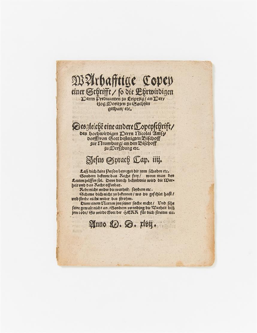 N. v. Amsdorff, Wahrhaftige Copey einer Schrifft. Magdeburg 1547.