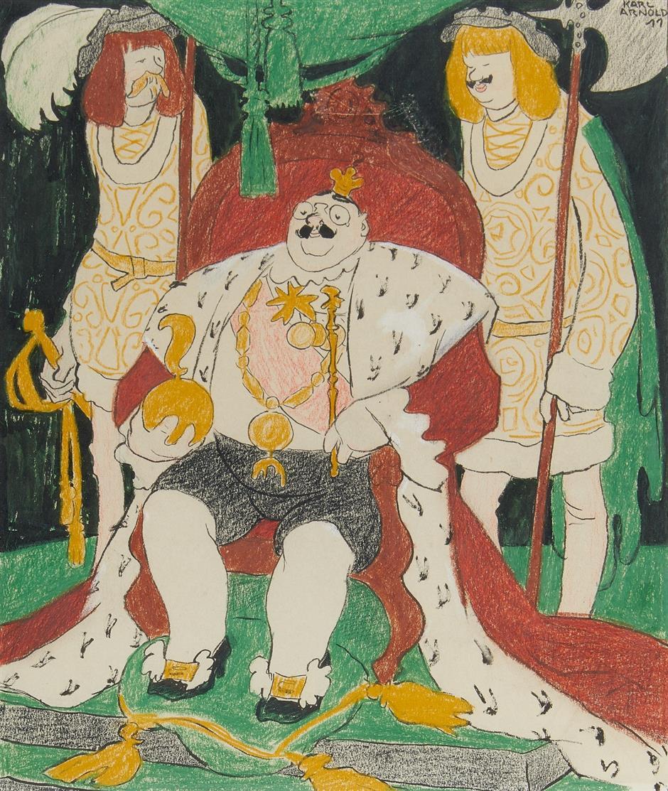 Karl Arnold. Serenissimus Carneval (zu: Jugend, 17. Jg.) 1911/1912. Farbkreide und Tusche. Signiert.