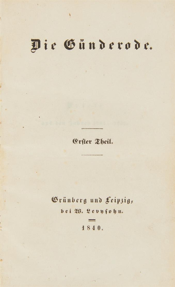 B. v. Arnim, Die Günderode. 2 Bde. Grünberg und Leipzig 1840.