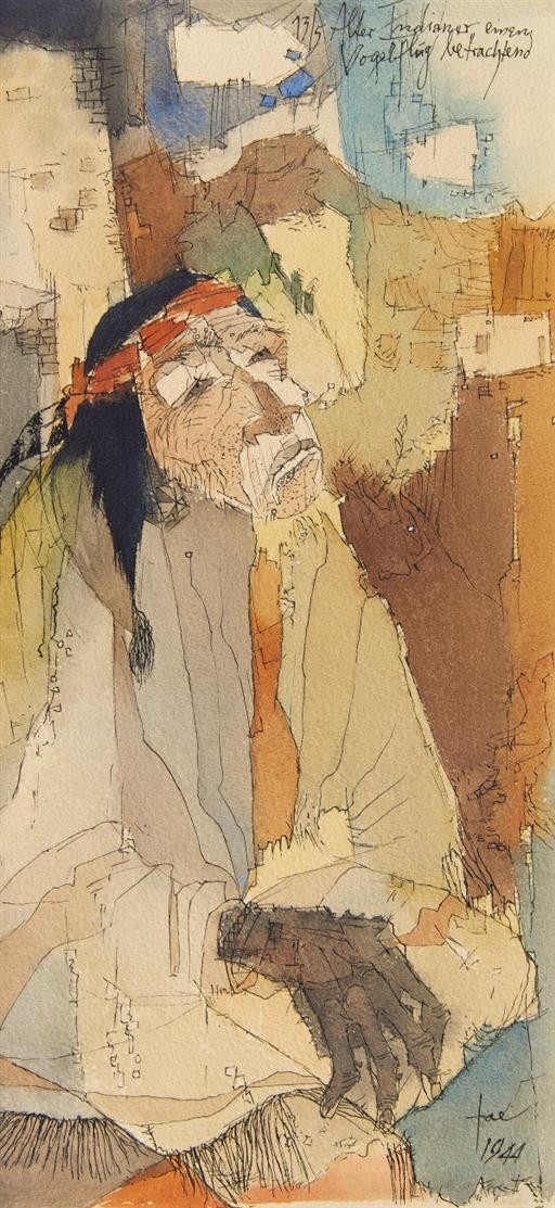 Hans Jaenisch. Alter Indianer, einen Vogelflug betrachtend. 1944. Aquarell und Feder. Signiert.