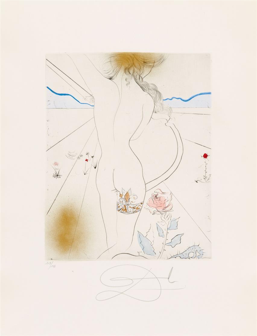 Salvador Dali. The Hippies. 1969/70. Leinenmappe mit 11 Bl. kolor. Kaltnadelradierungen. Signiert. Ex. 102/145. ML. 377-387a.