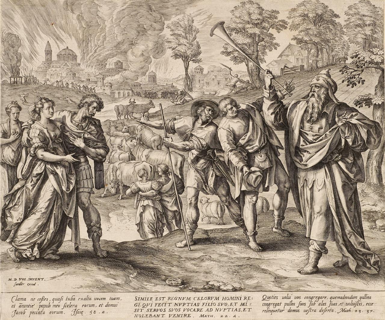 Maarten de Vos. Gleichnis vom Hochzeitsfest / Verfolgung der Christen. 2 Kupferstiche.