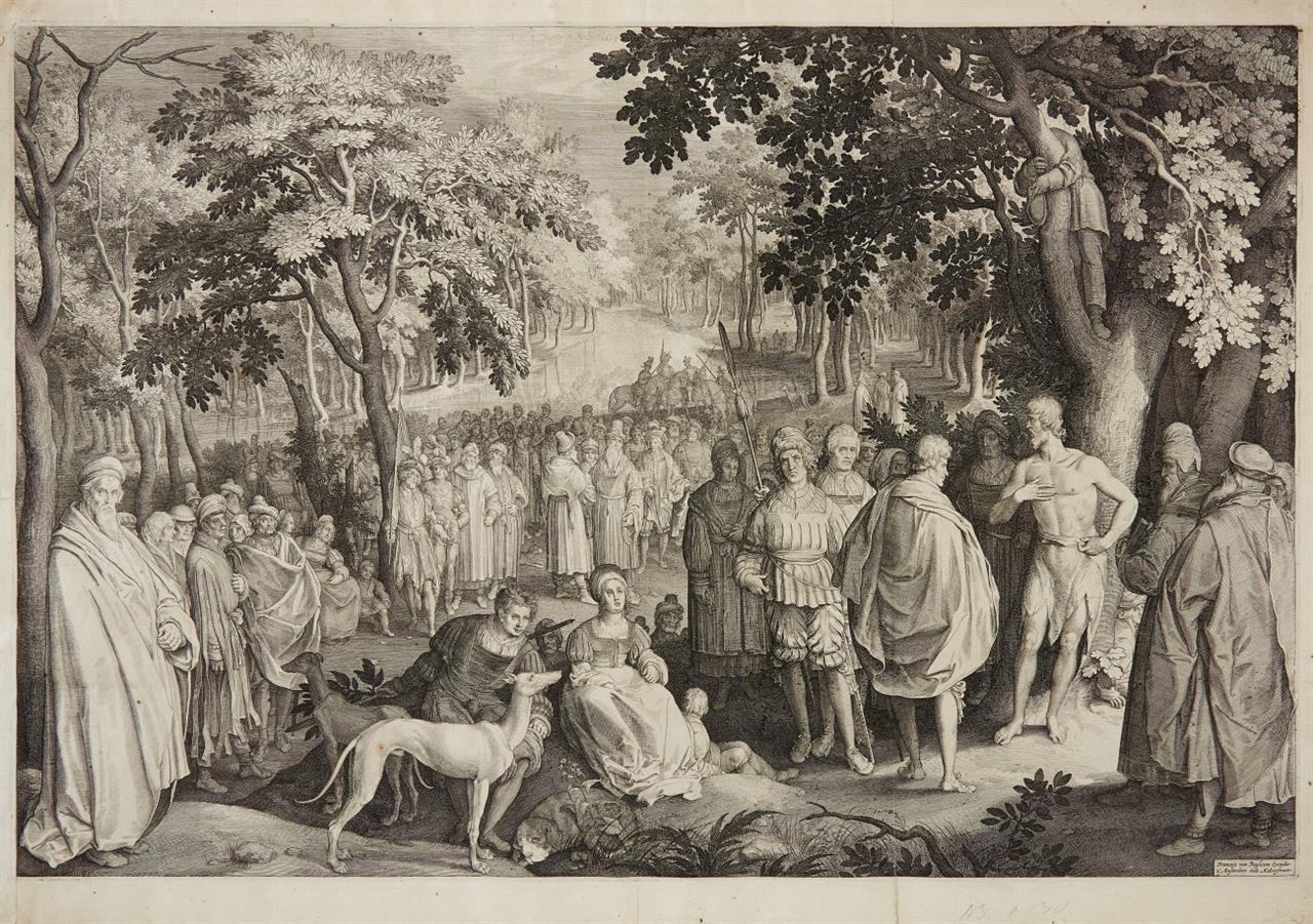 Nicolaes de Bruyn. Johannes der Täufer, predigend. 1619. Kupferstich.