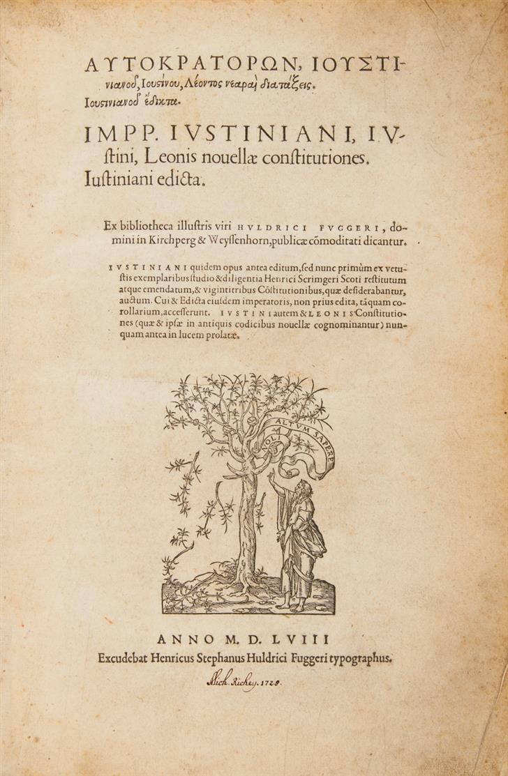 Autokratoron, Iustinianu, Iustínu, Léontos nearaì diatáxeis. Iustinianu édikta (graece).  Genf 1558.