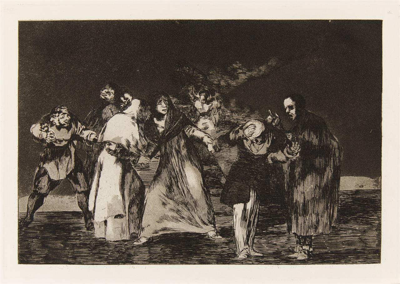 Francisco de Goya. Sanan Cuchilladas... (Blatt 16 aus Proverbios). Aquatintaradierung.