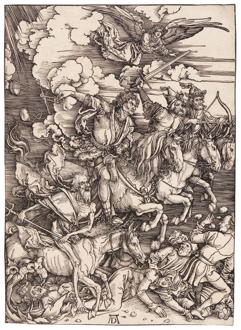Albrecht Dürer. Die apokalyptischen Reiter. Holzschnitt aus der Apokalypse. Um 1498. Bartsch 64; Meder 167, vor dem Text, b.