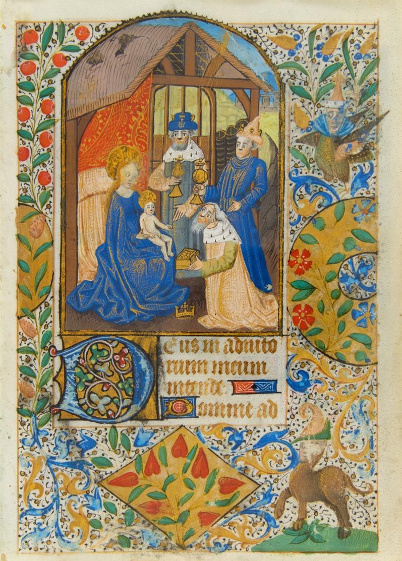 Anbetung der Könige. Einzelbl. a. lat. Stundenbuch. Nordfrankreich, um 1490. Ms. auf Pgt.