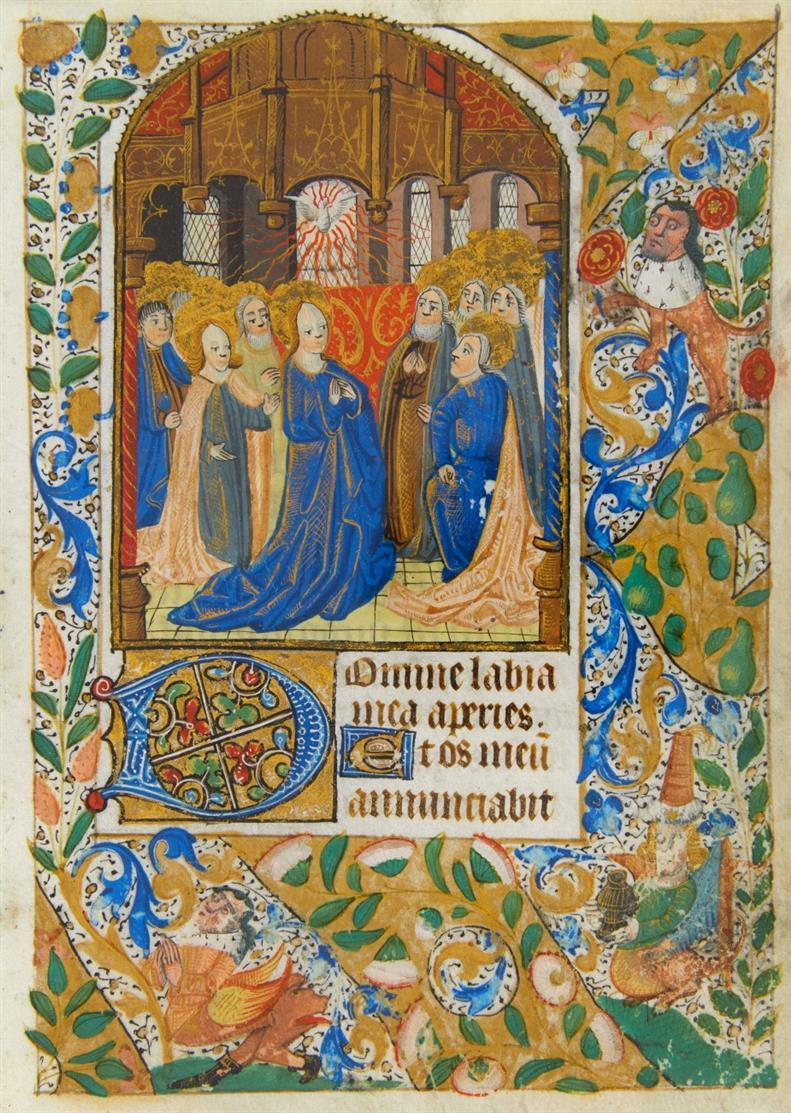 Pfingsten. Einzelblatt aus latein. Stundenbuch. Nordfrankreich, um 1490. Ms. auf Pgt.