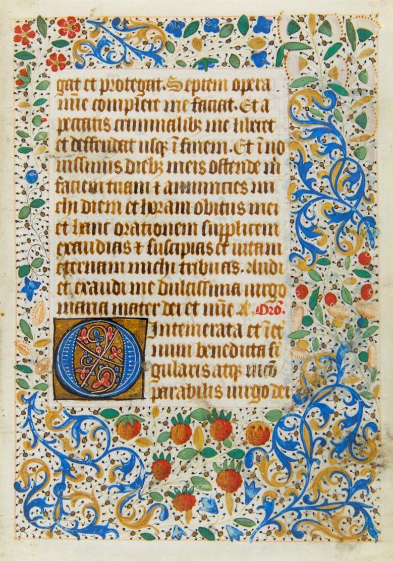 Doppelbl. + Einzelbl. aus latein. Stundenbuch. Nordfrankreich, um 1490. Ms.auf Pgt.