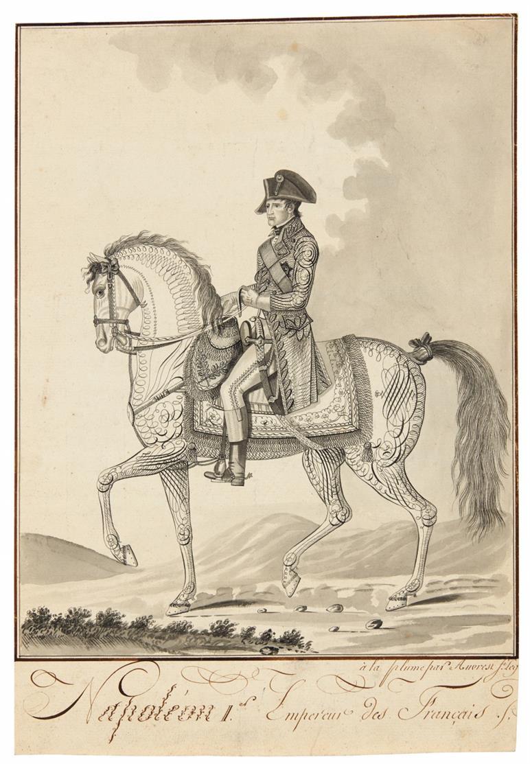 Napoleon I. Empereur des Français. Napoleon zu Pferde. Tuschfeder, laviert.
