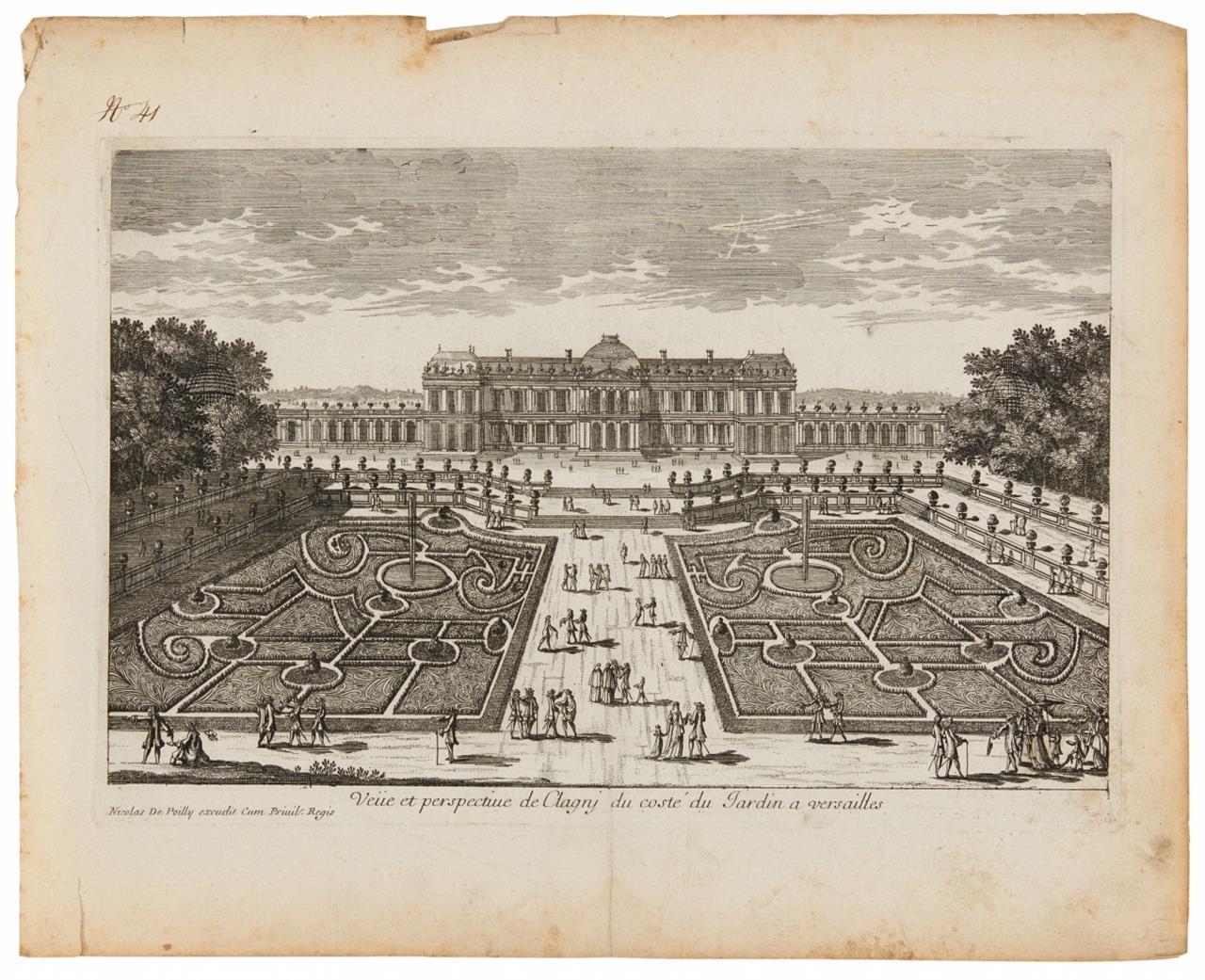Versailles / Paris. Schloss-, Garten- und Architekturansichten. 16 Blatt Kupferstiche.