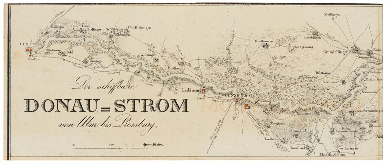 E. K. Frühwirth, Der schiffbare Donau-Strom von Ulm bis Pressburg. Wien 1830. - 12 Karten.
