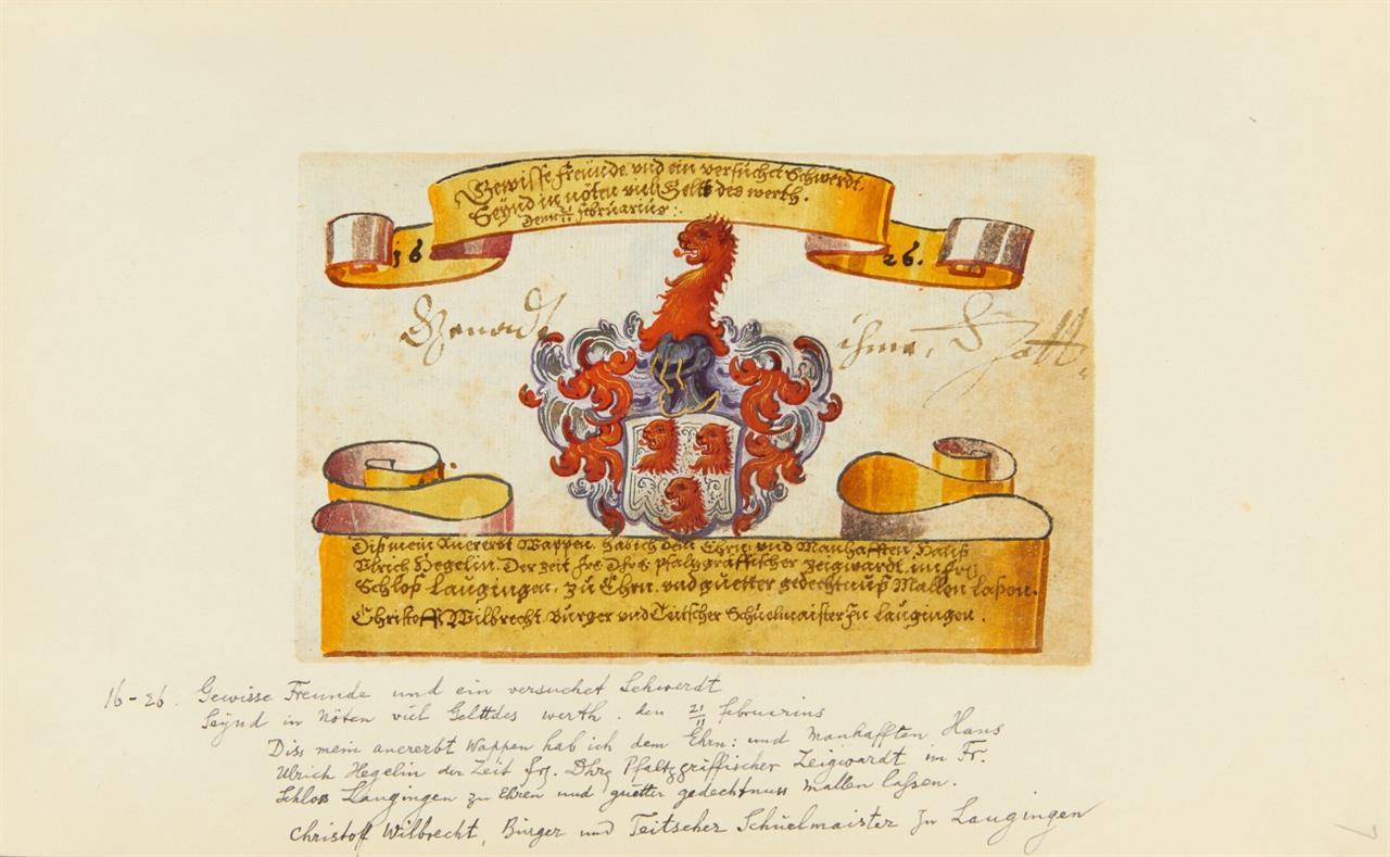 Libri amicorum. 3 Bde. m. Stammbuchbll.: 1585 (11 Bll.), 1610 (21 Bll.), 1623 (12 Bll.).