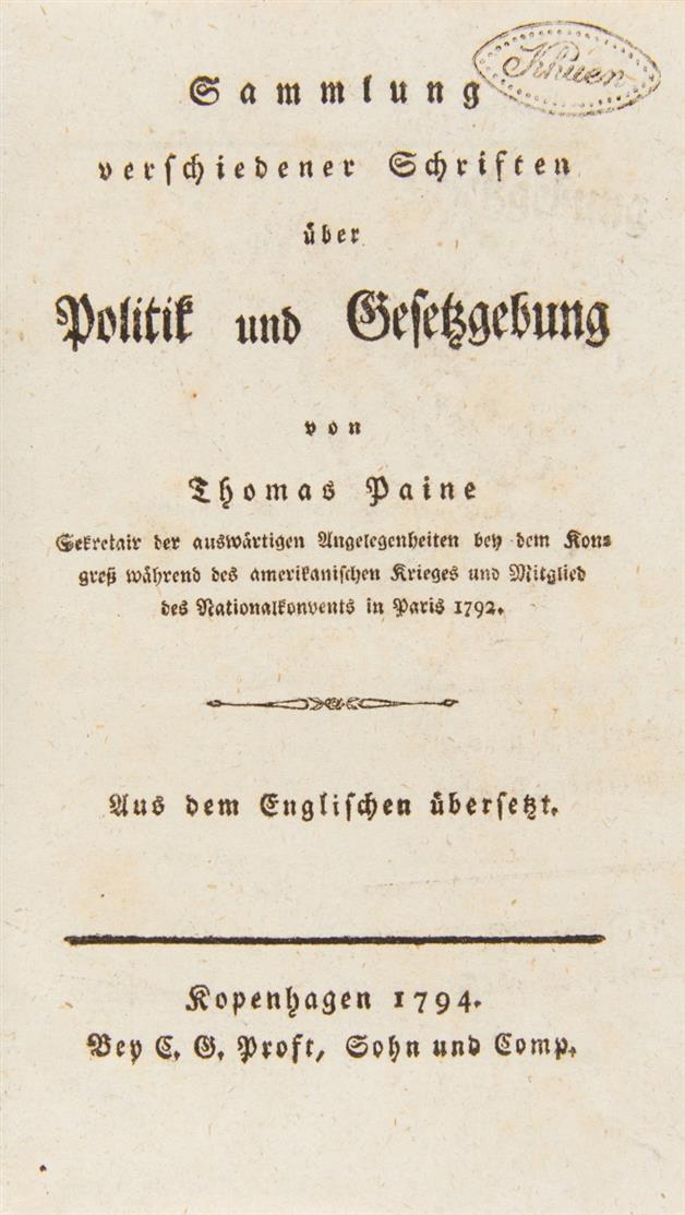 Th. Paine, 2 Schriften in 1 Band. Kopenhagen 1794.