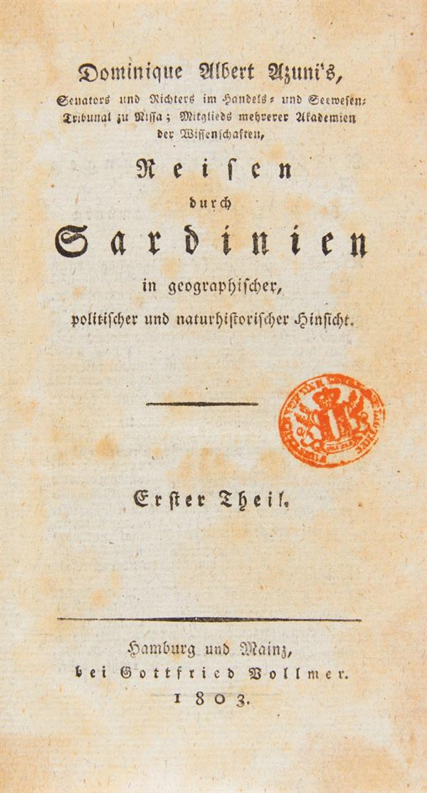 D. A. Azuni, Reisen durch Sardinien. 2 Bde. Hamburg u. Mainz 1803.