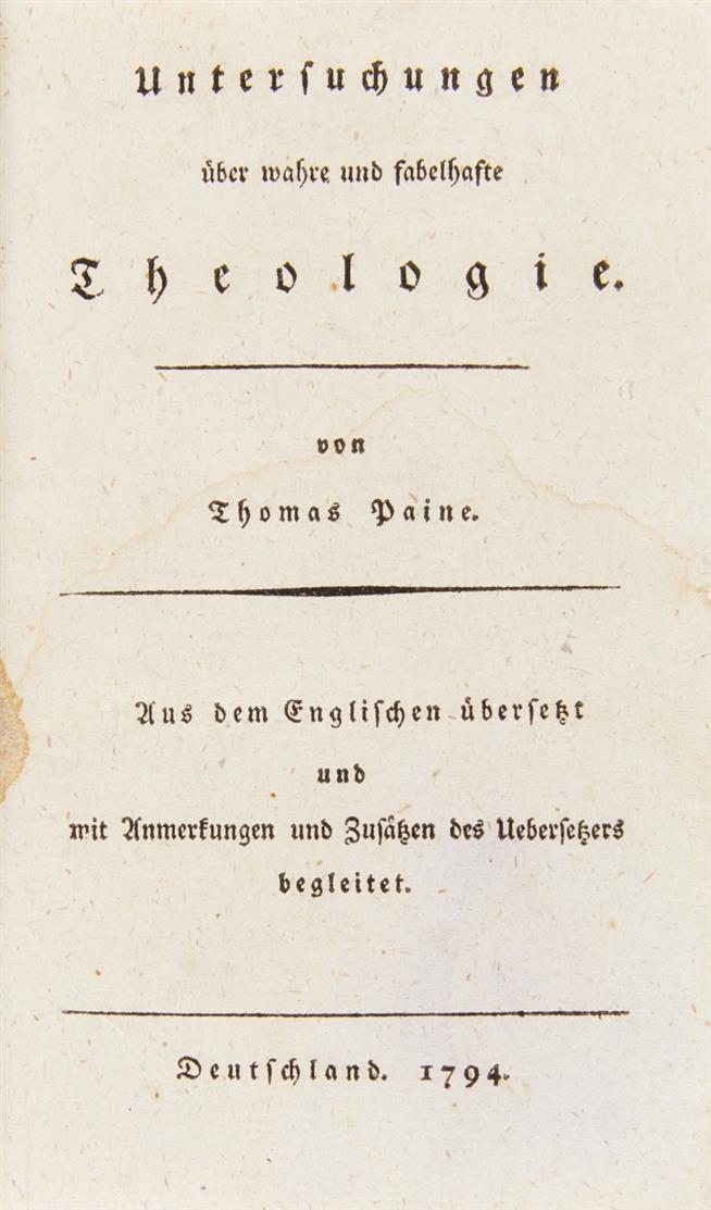 T. Paine, Untersuchungen über Theologie. Tl. 2.  Paris (d.i. Lübeck) 1794-96.