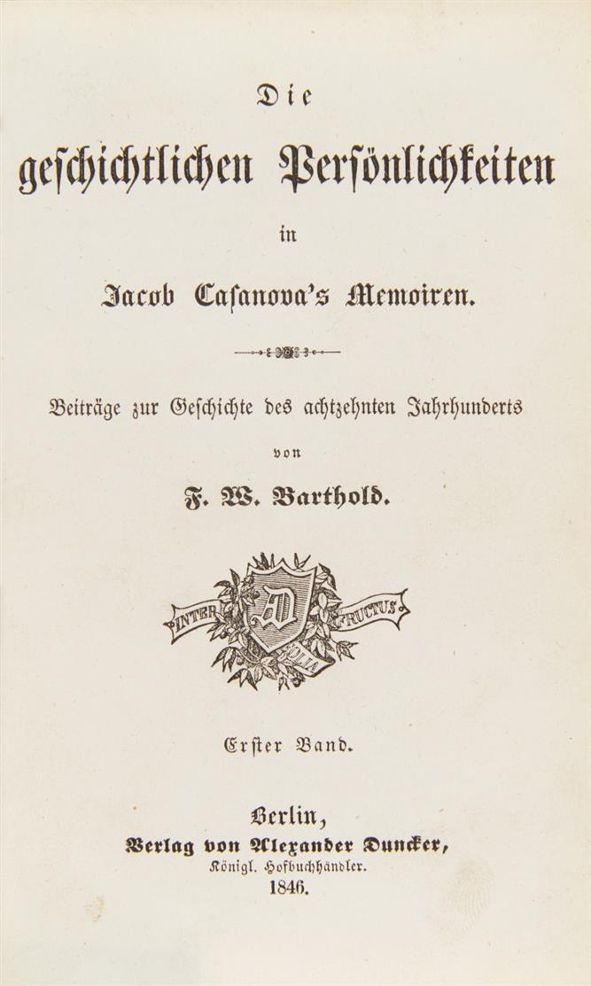 F. W. Berthold, Geschichtliche Persönlichkeiten in Casanovas Memoiren. Bln 1846.