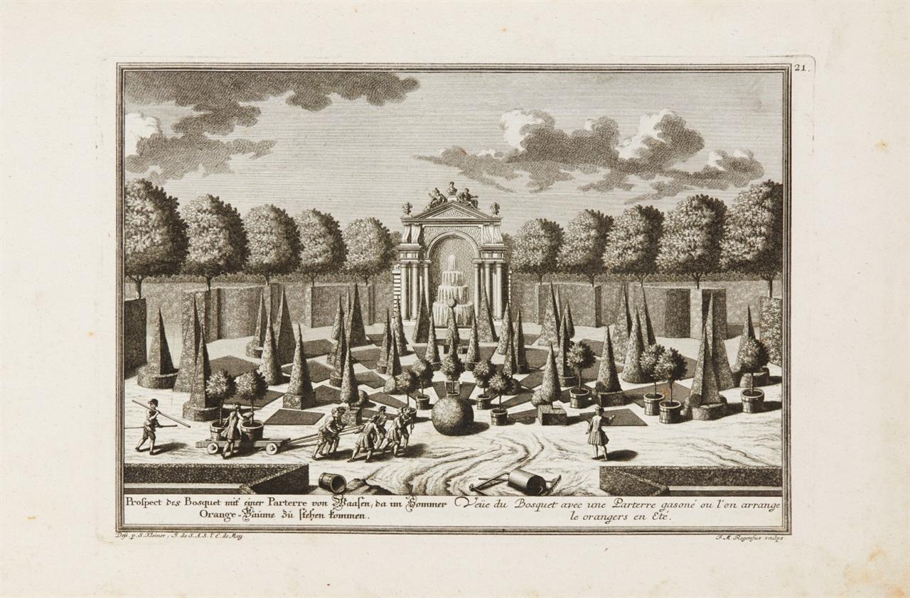 S. Kleiner, Lustgärten und Schlösser außerhalb Wiens. 5. Teil. 1735-40. 33 Kupfertafeln.