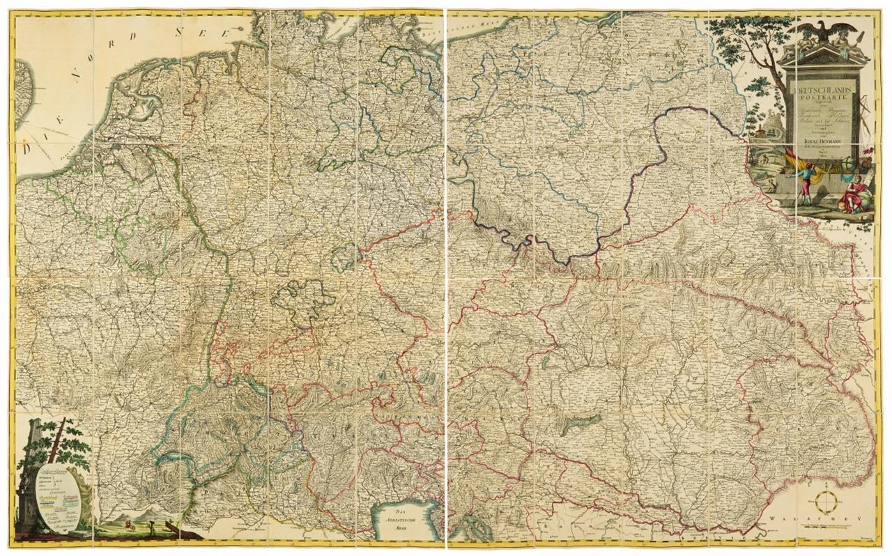 Deutschlands Postkarte. Hrsg. I. Heymann. 1800. Vierteilige Faltkarte auf Leinen.