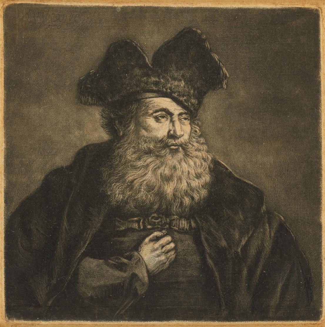 Rembrandt. Alter Mann mit gespaltener Pelzmütze. Radierung mit Überarbeitungen in Mezzotinto, evtl. von Pieter Louw. New Hollstein 182 II (von II).