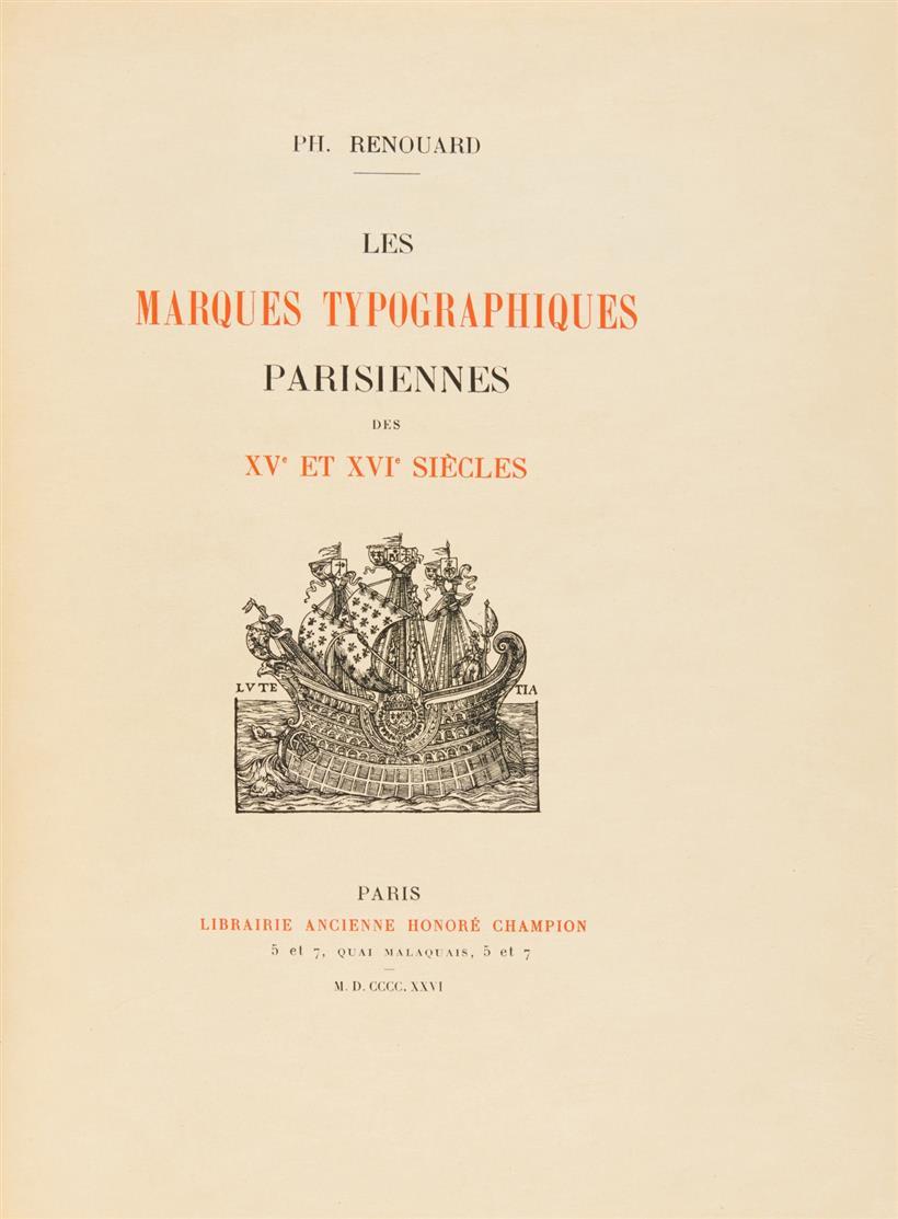 Ph. Renouard, Les marques typographiques Parisiennes ... Paris 1926.- Ex. 24/25 a. Japan.