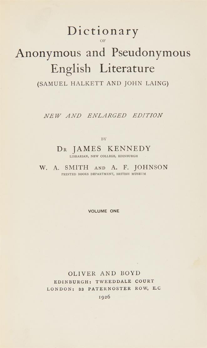 Halkett/Laing, Dictionary of Anon. and Pseudon. English Literature. 9 Bde. London 1926-62.
