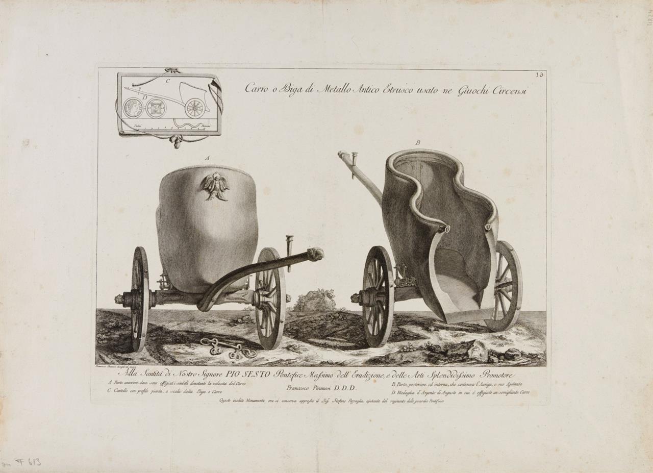 G. B. Piranesi. Carro o Biga di Metallo Antico Etrusco ... (Pferdewagen). Radierung.