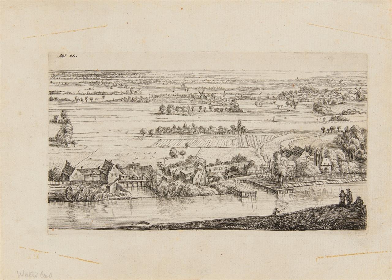 J. Ruischer / A. Waterloo. Dorf am Fluss. Radierung. H. 16 III.