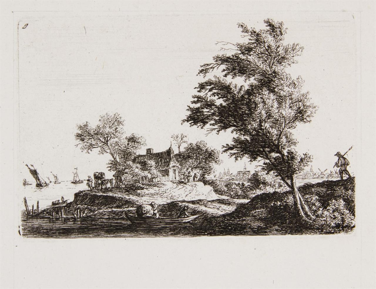 A. Waterloo. 3 Landschaften. 3 Radierungen auf 1 Bogen.