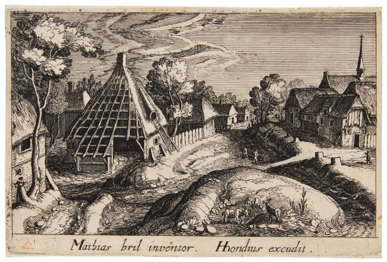 Simon W. Frisius nach M. Bril. Dorfansicht. Radierung. aus H.64-91.