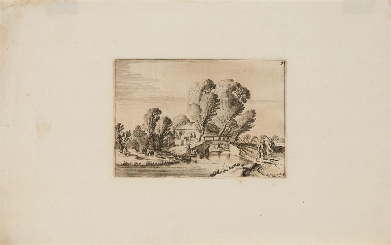 Gillis van Scheyndel. Brücke mit zwei Wanderern. Radierung. H. 109 II.