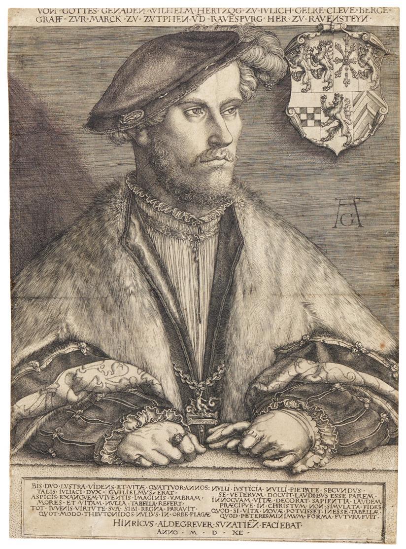 Heinrich Aldegrever. Herzog Wilhelm V. von Jülich-Kleve-Berg. Kupferstich. Hollstein 181.