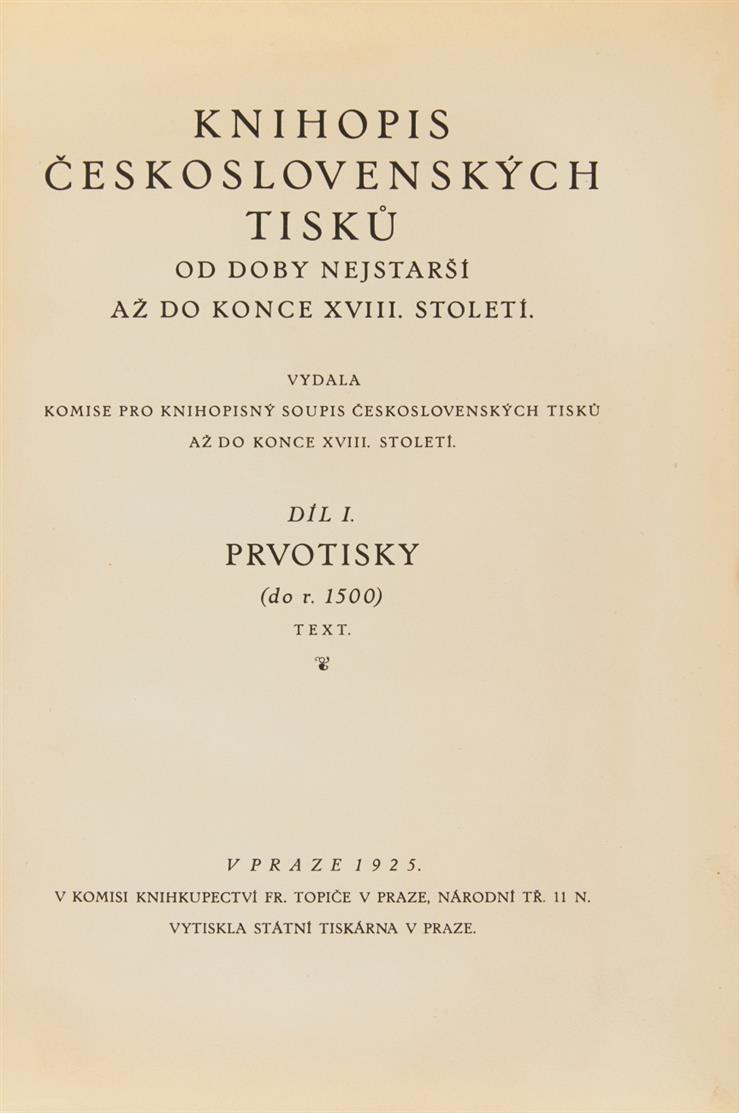Knihopis ceskoslovenských tisku ...  Bd. I m. Atlas u. Bde. II-IX in 8 Bden. Prag 1925-67.