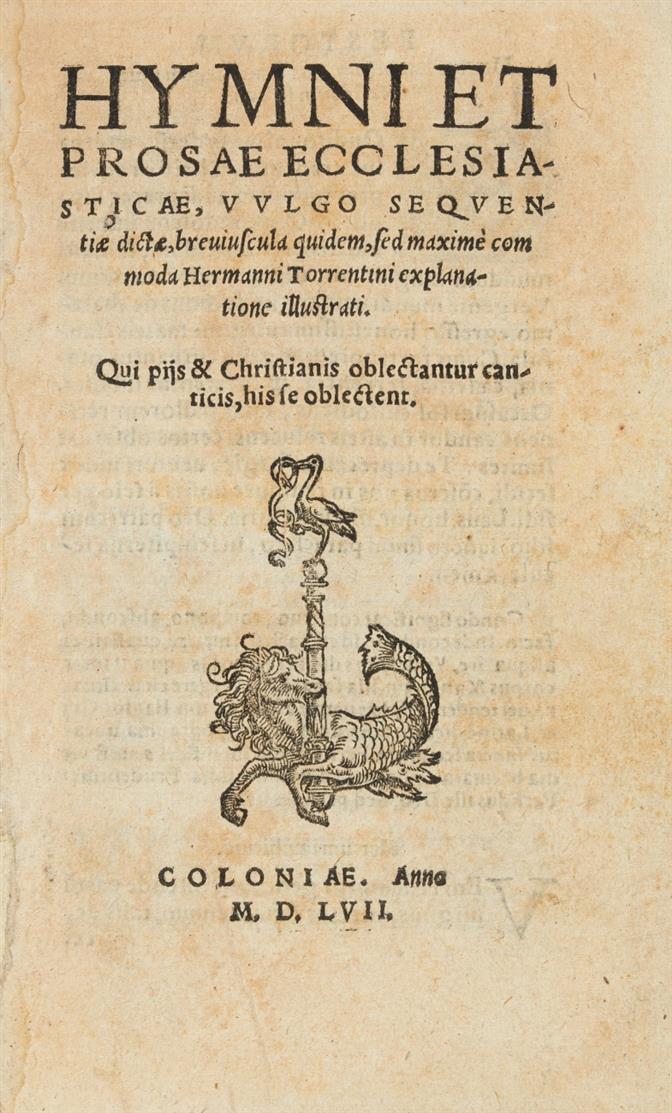 H. Torrentinus, Hymni et prosae ecclesiasticae. Köln 1557