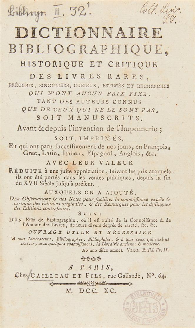 R. Duclos, Dictionnaire bibliographique. 4 Bde. Paris 1790-1802.