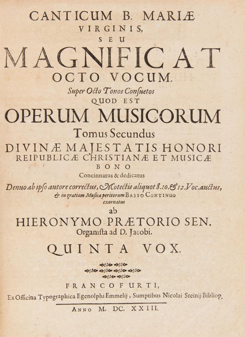 H. Praetorius, Opus musicum. Tom. I-IV. Ffm 1623-24. - Daraus die 4 Stimmbücher T, B, V, VIII.