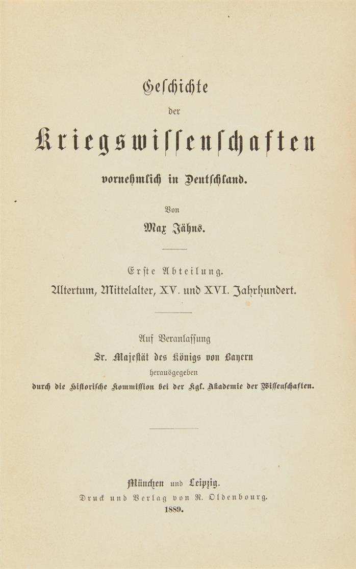 M. Jähns, Geschichte der Kriegswissenschaften. 3 Bde. Mchn und Lpz 1889-91.