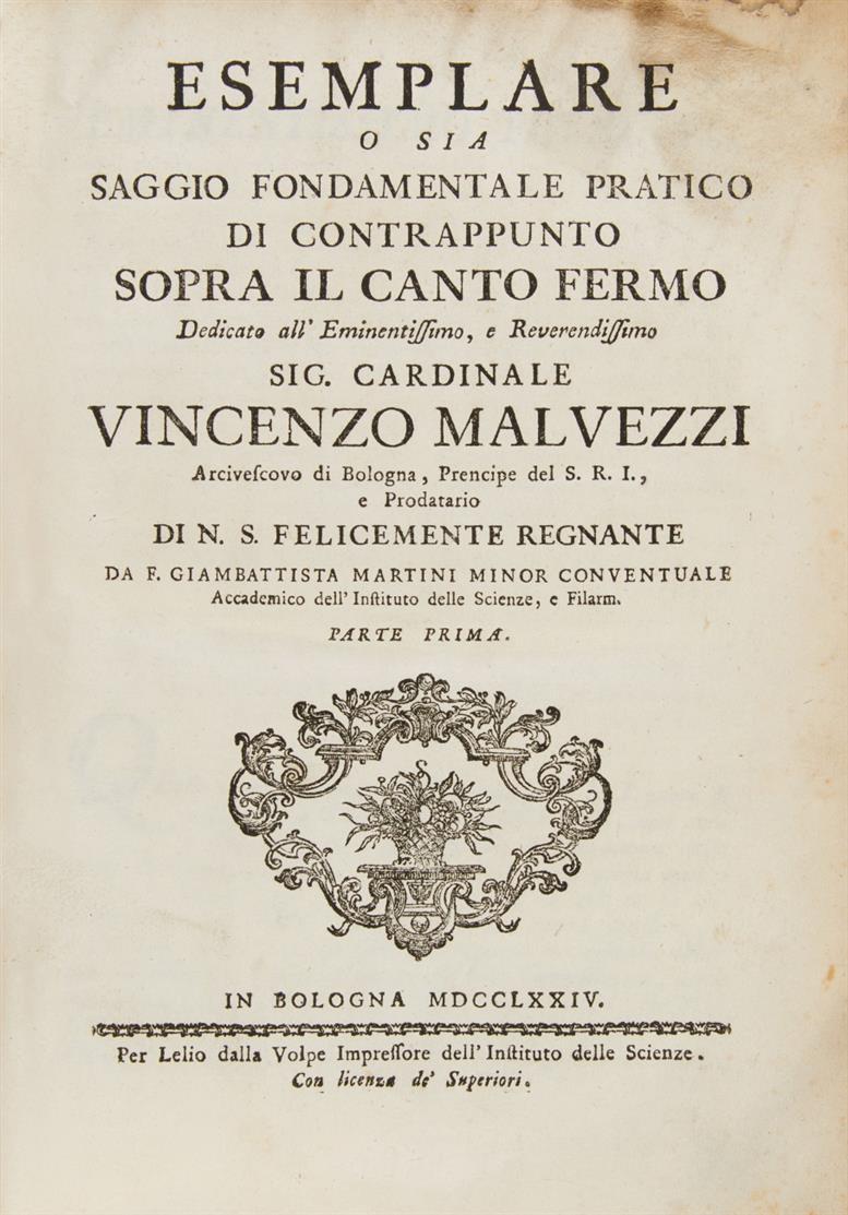G. B. Martini, Esemplare ... di canto fermo. 2 in 1 Bd. Bologna 1774-75.