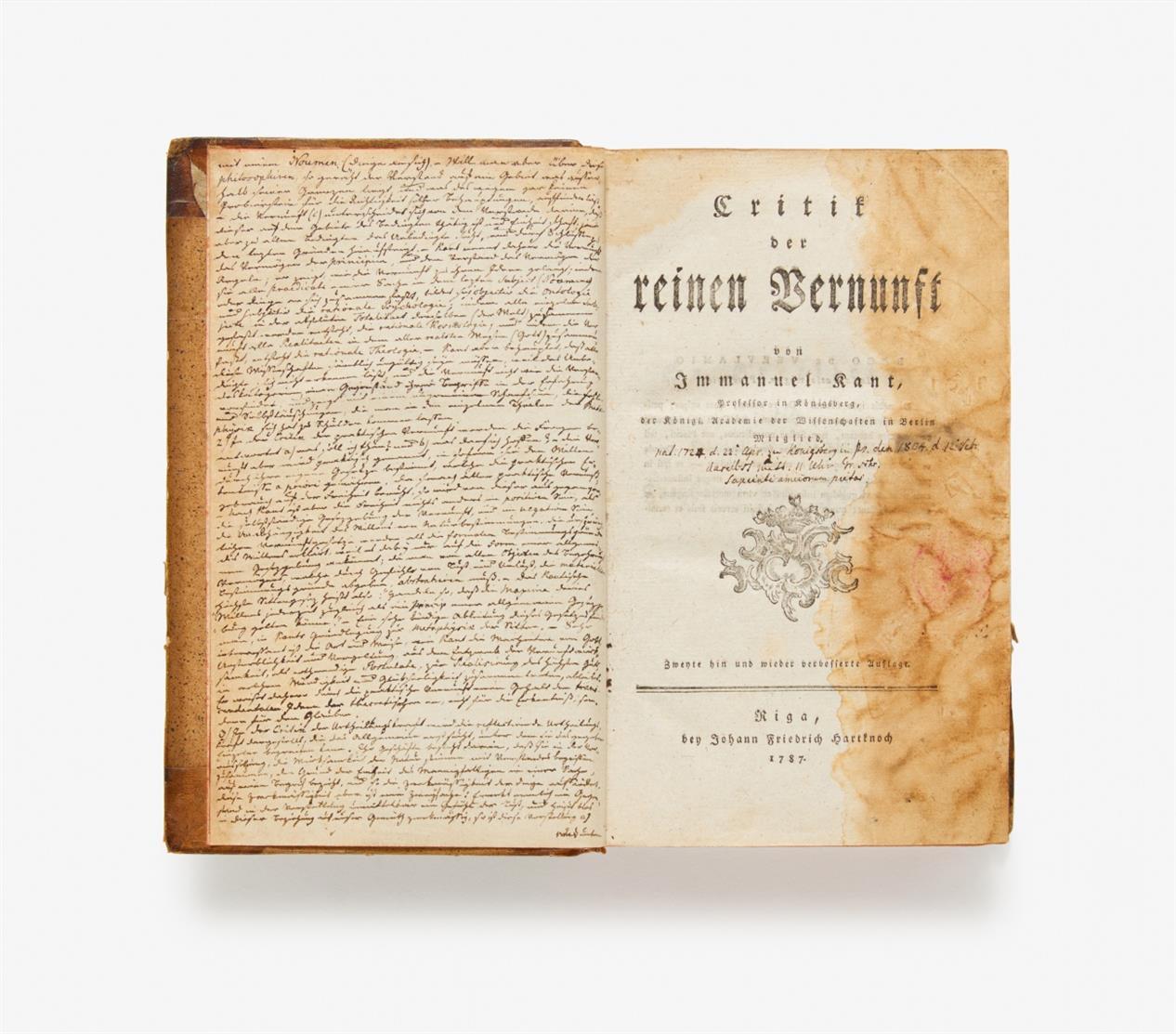 I. Kant, Critik der reinen Vernunft. Zweyte Auflage. Riga 1787.
