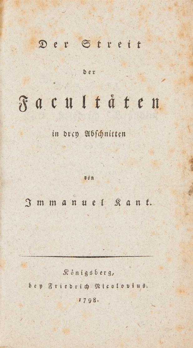 I. Kant, Der Streit der Facultäten ... Königsberg 1798.- EA. / Die Religion. Neuwied 1793.