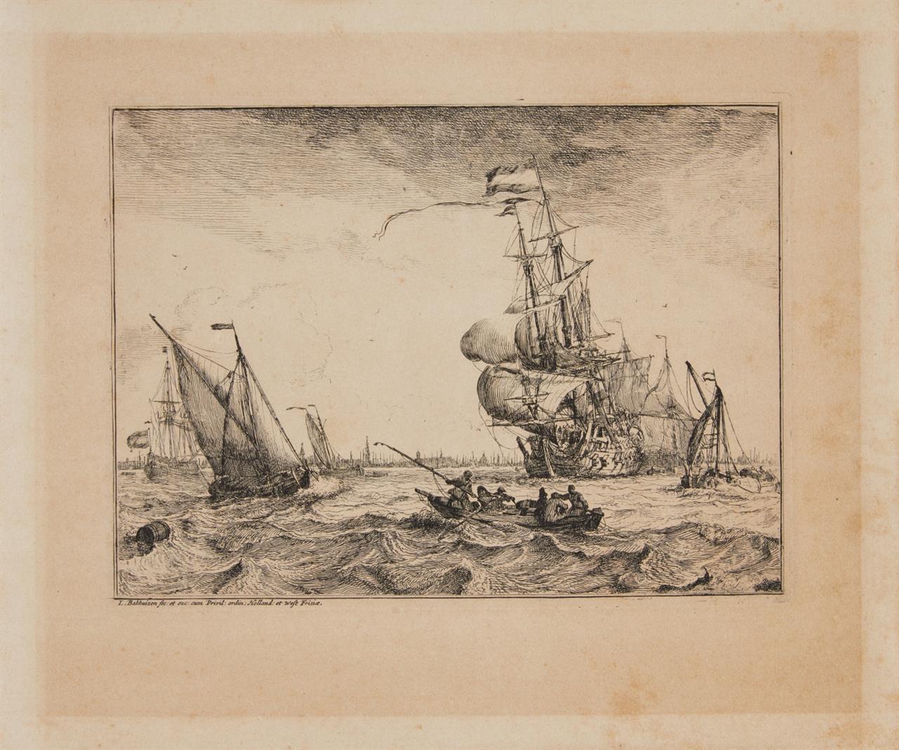 Ludolf Backhuizen. Seestücke mit Ansichten von Amsterdam, Rotterdam etc. Komplette Folge von 12 Blatt (Tit., Portr. + 10 Blatt) Kupferstichen. H. 1-10 III.