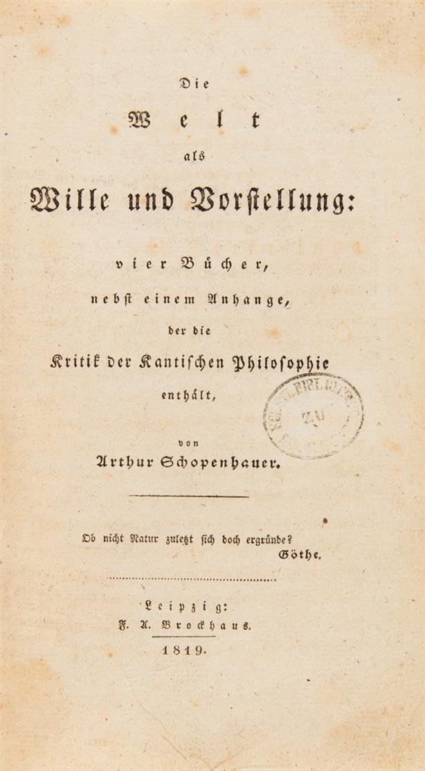A. Schopenhauer, Die Welt als Wille und Vorstellung. Leipzig 1819.