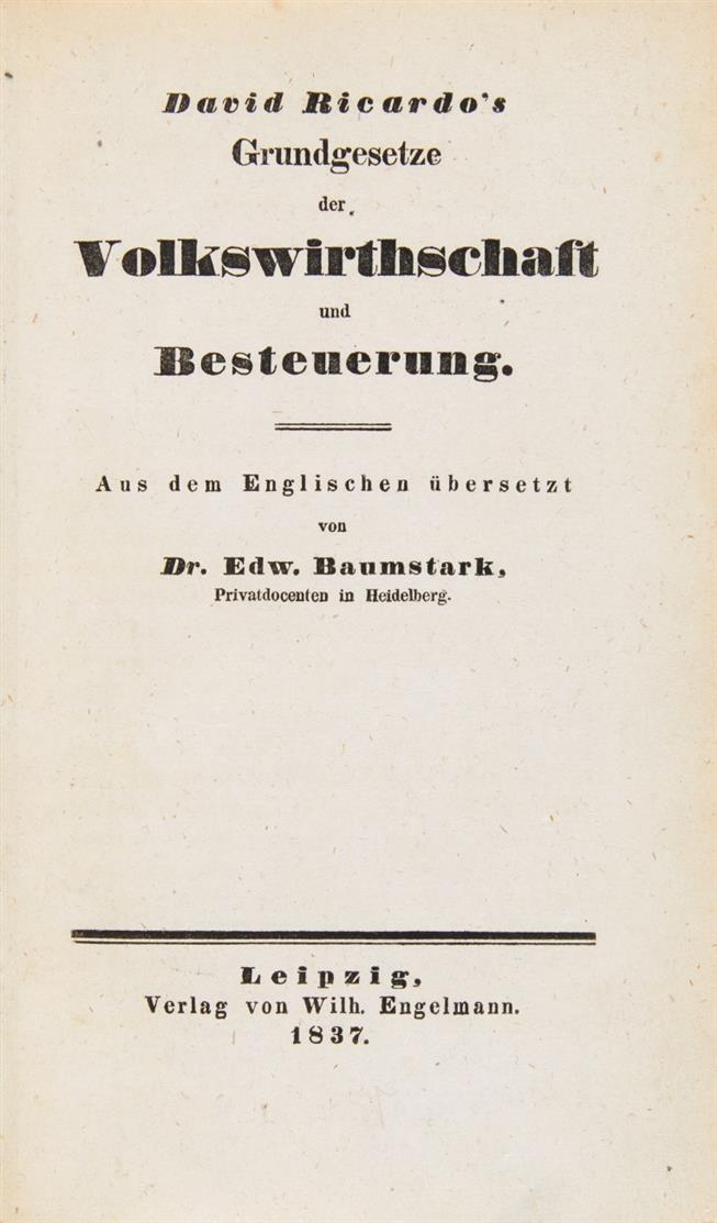 D. Ricardo, Grundgesetze der Volkswirthschaft und Besteuerung. 2 Bde. Leipzig 1837-38.