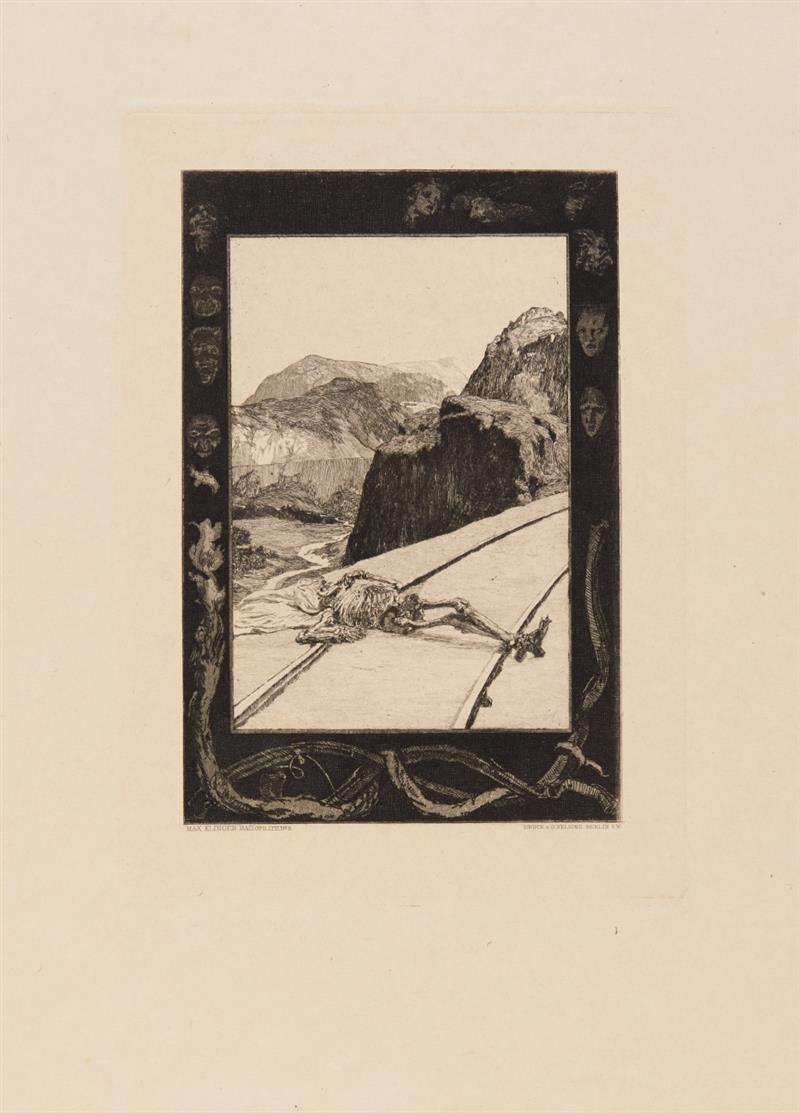 Max Klinger. Vom Tode, Opus XI. Fünfte Ausgabe. Mappe mit 10 Blatt Radierungen.
